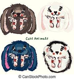 Set of vector cute animals