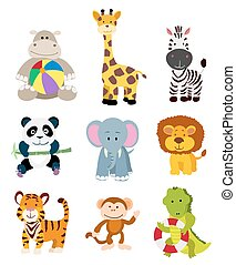set of vector jungle cartoon animals