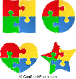 Set of Vector shapes of jigsaw puzzle pieces on white background