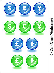 Set of vector spheres with shadow icons for businesss themes. Easy to edit, any size. Aqua web 2.0.