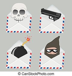 Set of white Envelope with Skull, gun, bomb and Thief inside isolated on grey background