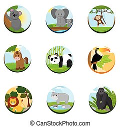 Set of zoo and farm animals