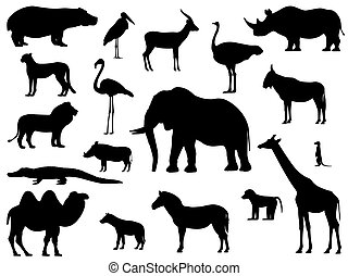 Set silhouette standing african animals