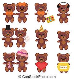 set with teddy bears