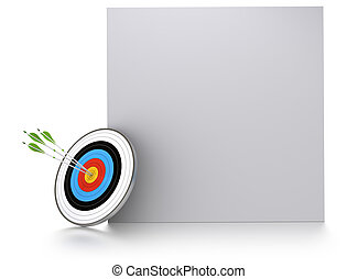 three green arrows and one target near of a square block for communication or advertising. 3D render over white background