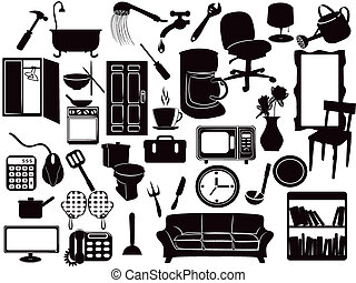 several Furniture icons for design