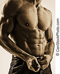 adult; alone; athlete; athletic; attractive; wet; background; beauty; body; bodybuilder; bodybuilding; caucasian; chest; cutout; exercise; fit; fitness; gorgeous; handsome; headless; healthy; incognito; individual; jeans; lifestyle; male; man; model; muscle; muscular; naked; nude; one; pecs; person...