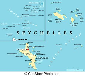Seychelles Political Map with capital Victoria, important cities and islands and an overview map of the whole archipelago. English labeling and scaling. Illustration.