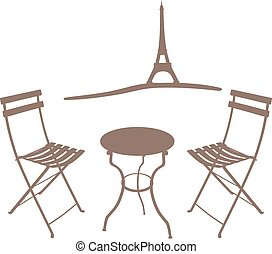Shade of two chairs in front of the Eiffel Tower