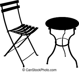 Shadow of a wrought iron garden table and chair