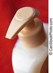 shampoo bottle in macro