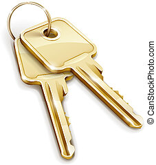 Sheaf of two golden keys. Vector illustration isolated on white background EPS10. Transparent objects used for shadows and lights drawing