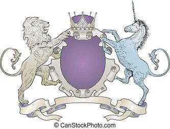 shield coat of arms lion, unicorn, crown