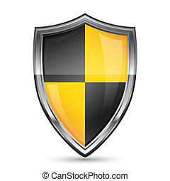 Vector illustration of shield security icon on white