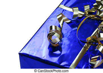 Shiny blue gift with gold ribbons