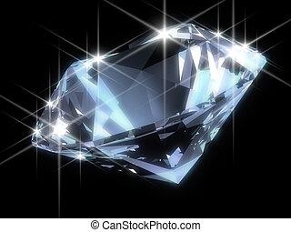 3d rendered illustration of a blue diamond