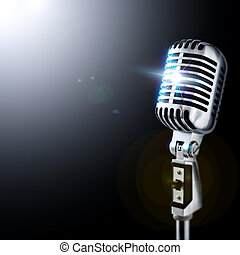 Shiny Vintage Microphone In Spotlight
