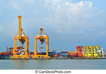 Container stacks and crane bridge in shipyard for cargo and Logistic background