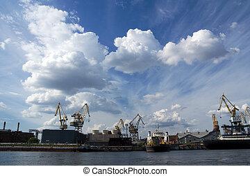 Cranes at shipyard