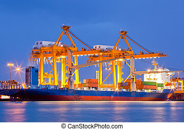 Container Cargo freight Industrail ship with working crane bridge unloading and loading goods in Bangkok shipyard Terminal at dusk for Logistic Import Export background