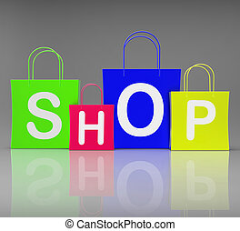 Shop Bags Showing Retail Buying and Shopping