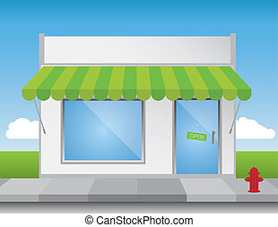 Shop front illustration, with shiny elements (no transparencies) and a bright blue sky. Editable vector file.