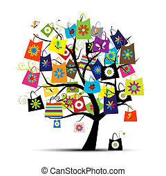Shopping bags on tree for your design
