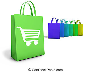 Web and Internet on line shopping concept with basket icon and e-commerce symbol on colorful shopping bags for website and online business.