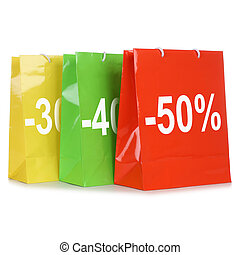 Colorful shopping bags with discounts or special offer during sale