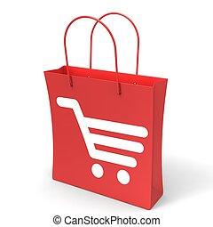 Shopping Cart Bag Showing Retail Basket Checkout
