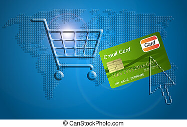 shopping cart with a credit card, concept of internet shopping.