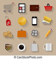 Shopping Flat Icons Set Vector Illustration