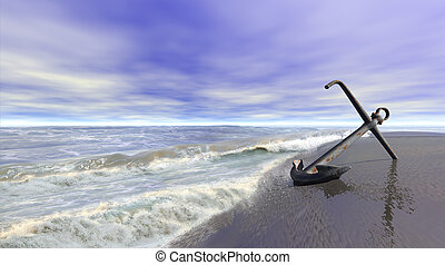 Shoreline scene with an old rusty anchor on wet sand. 3d illustration.