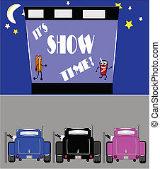 drive in show time with hot rods parked with rear view showing