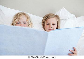 Siblings reading bedtime story