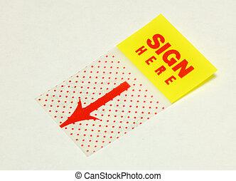 Sign here sticker