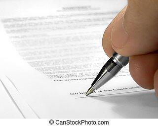 Signing contract closeup