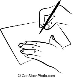 line drawing of hands signing a document or writing a note