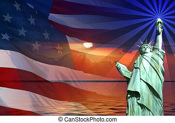 Symbol of America, Flag, Sunrise, Statue of Liberty.