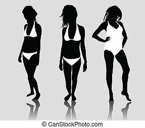 silhouette girls bikini