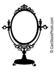 Silhouette of antique makeup mirror