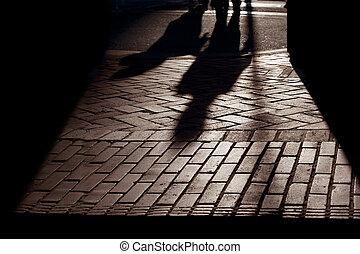 Silhouette shadows, People Walking