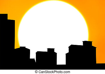 silhouette town on the sunset