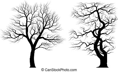 Silhouettes of old trees over white background.
