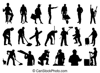 Silhouettes of working people. A vector illustration