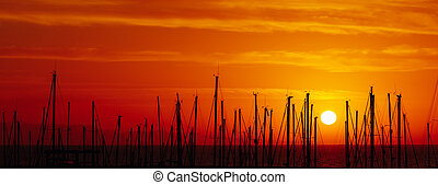 silhouettes of yacht masts, red sunrise in a port