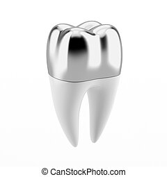 Silver Dental crown isolated on a white background