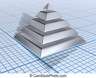 Illustration of a silver layered pyramid on graph paper