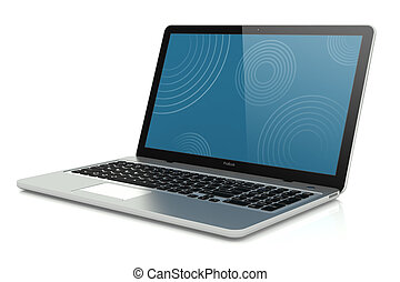 Silver modern mobility laptop. Concept