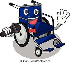 Singing cartoon wheelchair in a hospital room